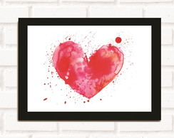 Poster com Moldura Watercolor Heart