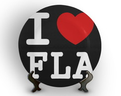 Prato Porcelana Decorativo I Love Fla