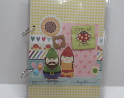 Caderno Argolado Decorado Scrap Cute Bug