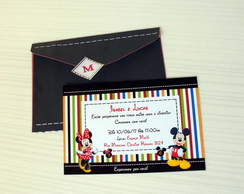 Convite + Envelope do mickey e minne