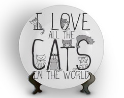 Prato Porcelana I Love All The Cats