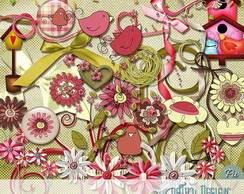 Kit Scrapbook Flowers and Birds - Flores