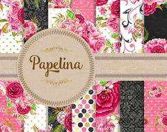 Kit Digital PAPEL FLORAL PINK 786