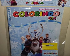 Kit Colorir Revistinha Frozen +giz cera