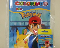 Kit Colorir Revistinha +giz Pokemon