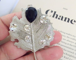 BROCHE DE STRASS LEAF
