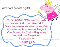 Arte Convite Digital Peppa ou George Pig