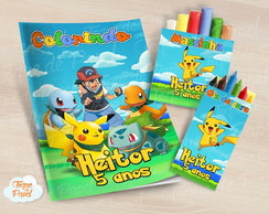 Kit colorir giz massinha Pokemon