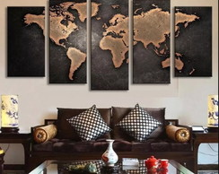KIT DE QUADROS DECORATIVOS - MAPA MUNDI