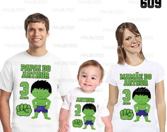 kit camisetas aniversario hulk cute 609