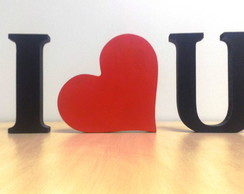 KIT 3 letras decorativas I LOVE YOU em mdf