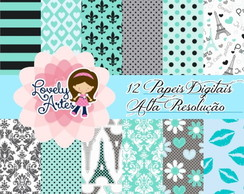 Kit Digital Paper - I Love Paris