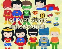 Kit Digital Clipart Super Herois Cute!!