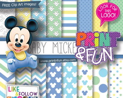 Kit Papel Digital Mickey baby azul