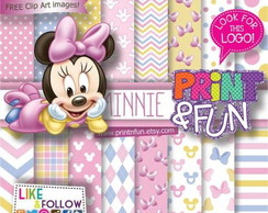 Kit Papel Digital Minnie baby rosa