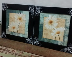 Kit Quadros Decorativos Flores Arabescos