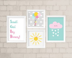 Kit de Quadros - Small Girl, Big Dreams