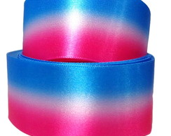 Fita Organza Degradê Azul e Rosa 38mm