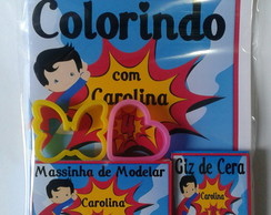 Kit Colorir + Massinha 2 Moldes Heróis