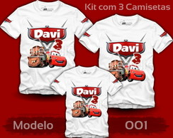 Kit 3 Camisetas Carros Disney McQueen