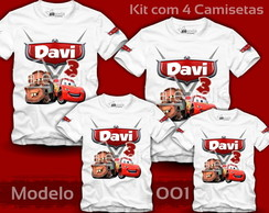 Kit 4 Camisetas Carros Disney McQueen