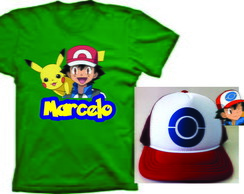 Camiseta e Boné do Ash Pokemon