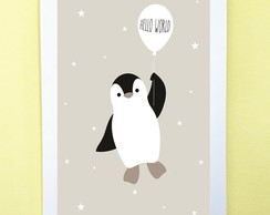 Poster com Moldura Pinguim Hello World