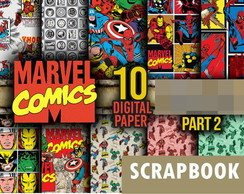 Kit scrapbook digital Marvel Vingadores