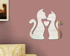 Espelho Decorativo Cats in Love 28x25 cm