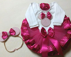 kit saia tutu Minnie luxo