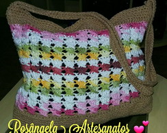 Bolsa de crochê Multicor Barroco