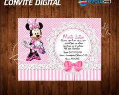 Convite Digital minnie rosa