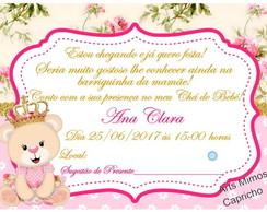 Tag Convite Cha De Bebe Ursa Princesa Para Editar