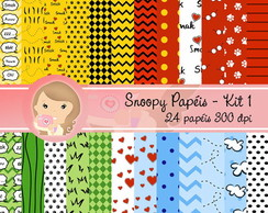 Kit Digital Scrapbook SNOOPY Papéis 1