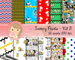 Kit Digital Scrapbook SNOOPY Papéis 3