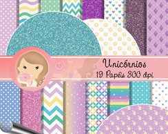 Kit papel Digital scrapbook Unicórnios 2