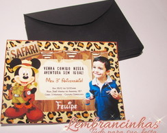 Convite com Envelope 10x7 Mickey Safari