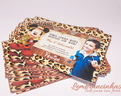 Convite sem Envelope 10x7 Mickey Safari