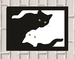 Poster com Moldura Cat Yin and Yang