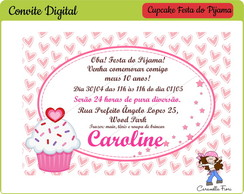 Convite Digital Festa do Pijama Cupcake