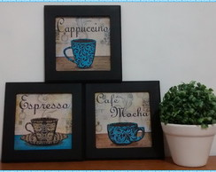 Trio de Quadros Café - Black/Blue