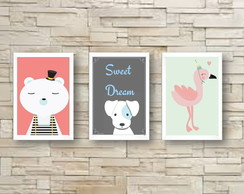 Kit 3 Quadros Decorativos Infantil A4