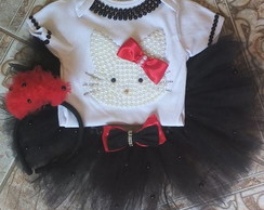 Conjunto Fantasia Roupa Tutu Hello Kitty