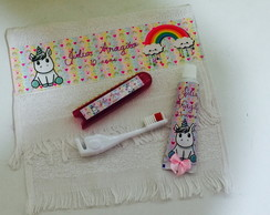 kit dental unicornio com Toalhinha