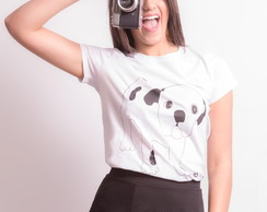Blusa Camiseta Feminina Bordada Dog