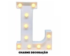 Letra L Luminosa Led 3d A Pilha