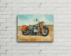 Placa Vintage Retro Motorcycle Canvas 42