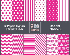 12 Papeis Digitais Cores Rosa Pink - PNG