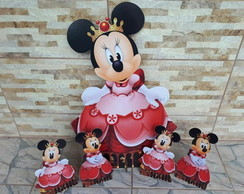 Kit Minnie Princesa Vermelha - mdf