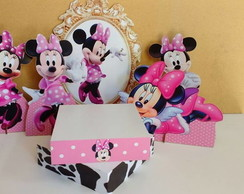Kit com bandeja - minnie rosa - mdf